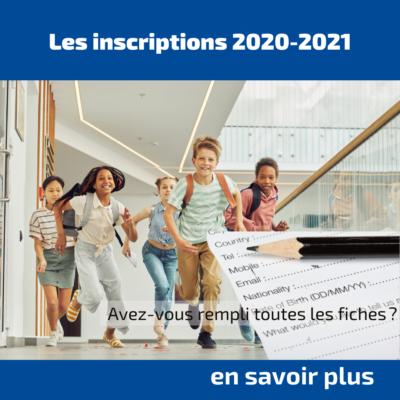 Les inscriptions 2021-2022